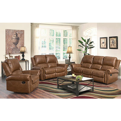 Abbyson Living Anderson 3-Pc. Leather Reclining Set - Camel