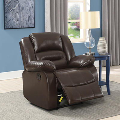 Elements Perth Big Bubba Faux Leather Manual Motion Recliner - Chocola