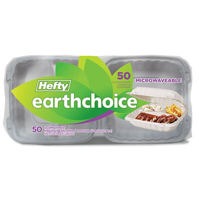 Hefty Earthchoice Three-Compartment Microwavable Container Lids, 50 ct