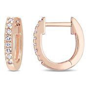 Diamond Accents Hoop Earrings in 10k Rose Gold