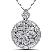 Diamond Accents Floral Vintage Locket Pendant with Chain in Sterling Silver