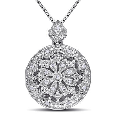 Diamond Accents Floral Vintage Locket Pendant with Chain in Sterling S