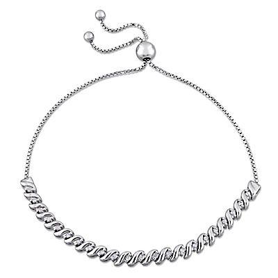 .24 ct. t.w. Diamond Bolo Bracelet in Sterling Silver