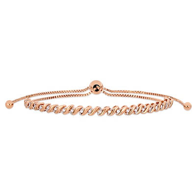 .24 ct. t.w. Diamond Bolo Bracelet in Rose Rhodium-Plated Sterling Sil