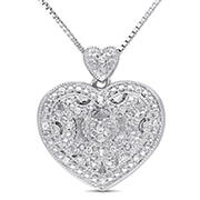 Diamond Accents Heart Locket Pendant with Chain in Sterling Silver