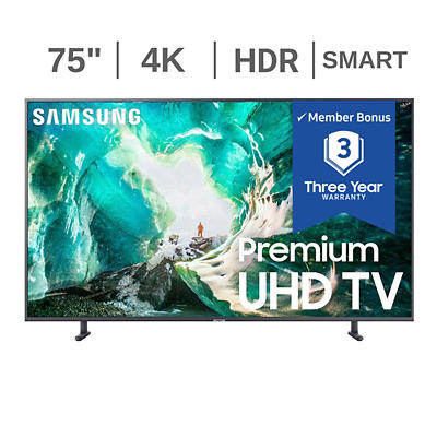 "Samsung UN75RU800D 75"" 4K UHD HDR Smart TV with White Glove Delivery"
