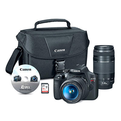 Canon EOS Rebel T7 24.1MP CMOS DSLR Wi-Fi Camera Bundle with EF-S18-55mm and EF 75-300mm Lenses, 32GB SD Card, Bag