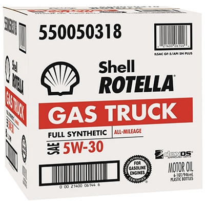 Shell Rotella Gas Truck 5W-30 Full Synthetic Motor Oil, 6 pk./1 qt.