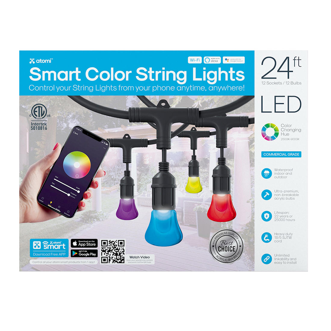 official photos 6f1d2 72700 Atomi 24' Color Smart LED String Lights