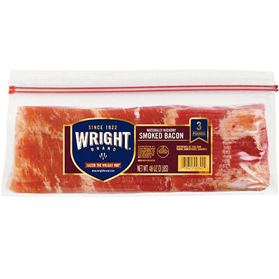 Wright Brand Thick Sliced Hickory Smoked Bacon, 3 lb.