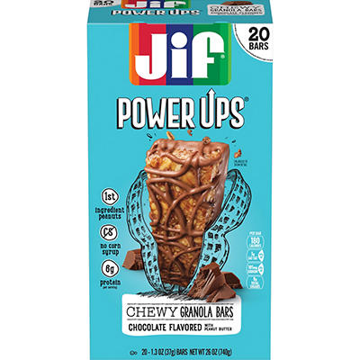 Jif Power Ups Chocolate Peanut Butter Chewy Granola Bars, 20 ct./1.3 o