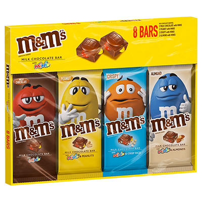 M&M's Chocolate Candy Bars with Minis Variety Box, 8 ct.
