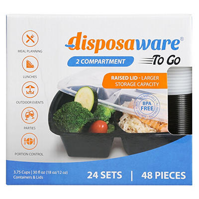 Disposaware 2 Compartment Reusable Meal Containers, 24 pk.