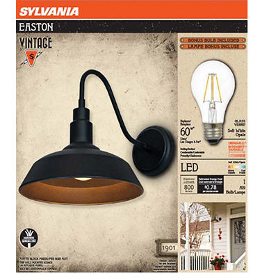 Sylvania Easton Vintage Outdoor Hardwired Wall Sconce - Black Matte Me