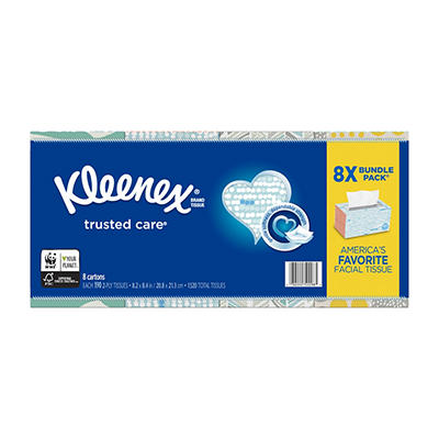 Kleenex Trusted Care Everyday Facial Tissues, 190 ct./8 pk.