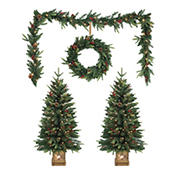 Everstar 6-Pc. Entryway Prelit Tree and Garland Set