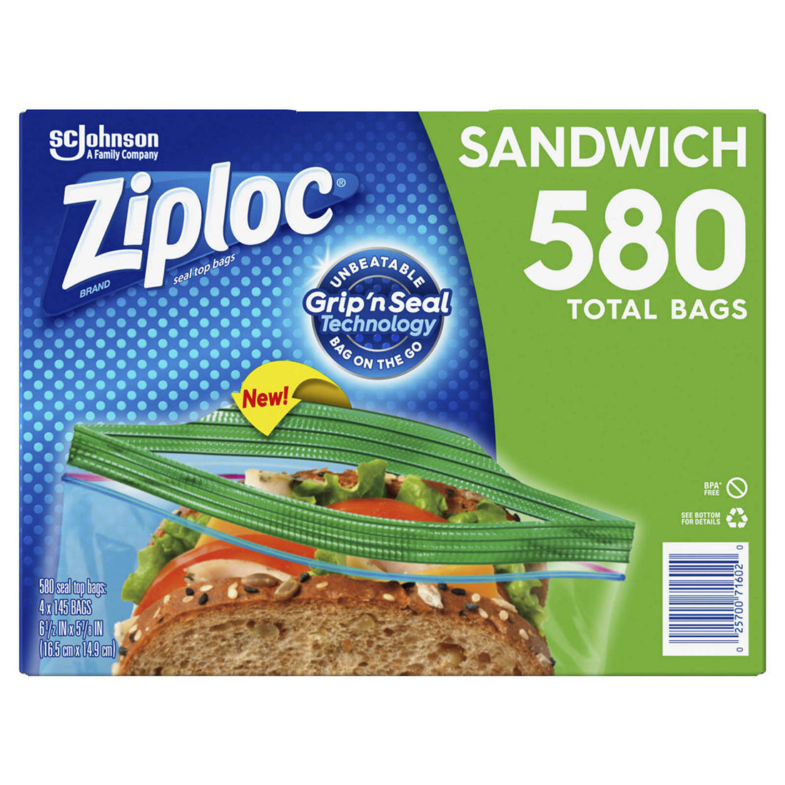 Ziploc Seal Top Sandwich Bags 580 Ct