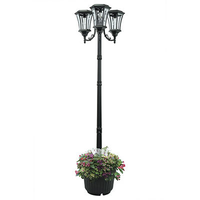 Sun-Ray Avalon 3-Head Solar Lamp Post and Planter - Black