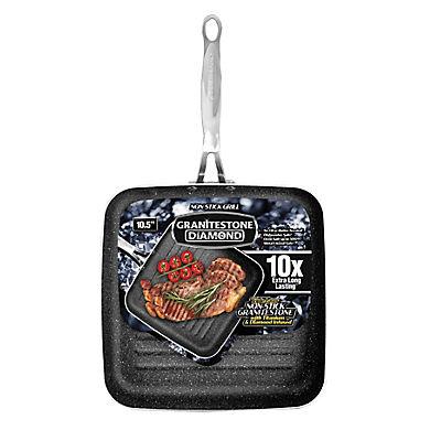 """Granitestone Diamond 10.5"""" Non-Stick Diamond-Infused Titanium Grill Pa"""