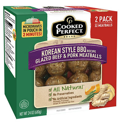 Cooked Perfect Korean Style Glazed Beef and Pork Meatballs, 2 pk./16 c
