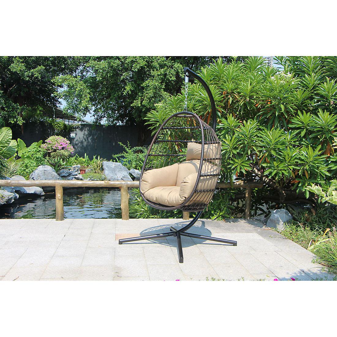Tremendous Berkley Jensen Wicker Hanging Egg Chair Dark Gray Cjindustries Chair Design For Home Cjindustriesco
