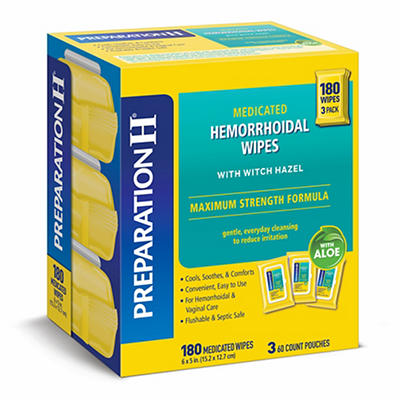 Preparation-H  Maximum Strength Medicated Hemorrhoidal Wipes with Witc