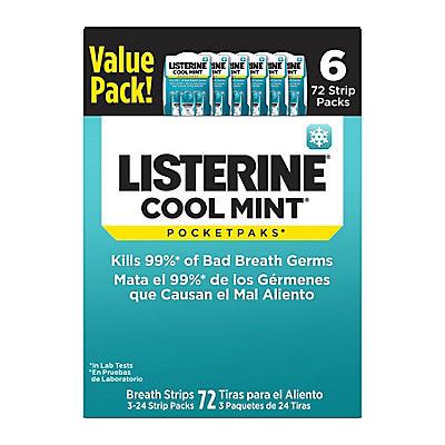 Listerine Cool Mint Pocketpaks Breath Strips, 6 pk./72 ct.
