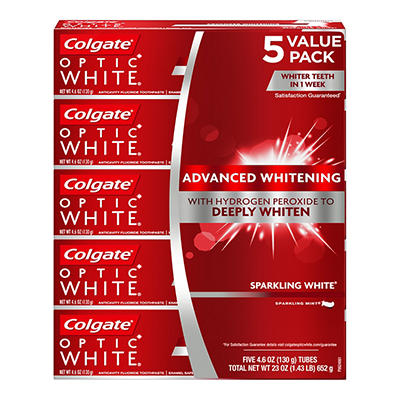 Colgate Optic White Whitening Toothpaste, Sparkling White, 5 pk./4.6 o