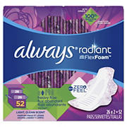 Always Radiant Long Super Maxi Pads with Wings, 52 ct.
