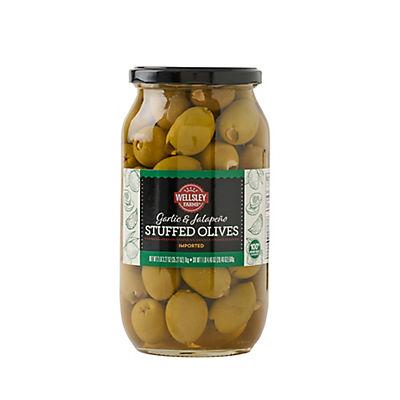 Wellsley Farms Garlic and Jalapeno Stuffed Olives, 35 oz.