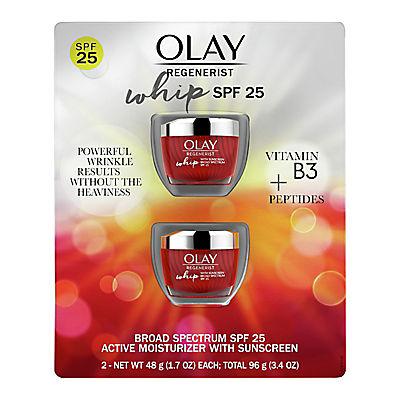 Olay Whips Facial Moisturizer, Primer & SPF 25, 2 pk./1.7 oz.