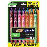 BIC Gel-ocity Quick Dry Retractable Gel Pens, 12 ct. + 2 Bonus