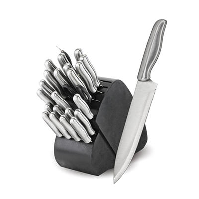 Madison and Yale 34 Pc. Stainless Steel Cutlery Set with Swivel Wood K