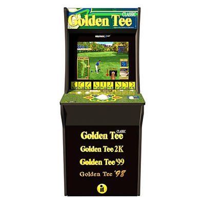 Arcade1Up Golden Tee Fore Retro Counter Arcade Game with Riser