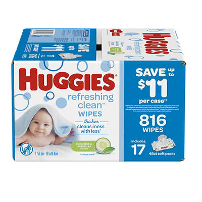 Huggies Refreshing Clean Cucumber and Green Tea Scented Baby Wipes, 17