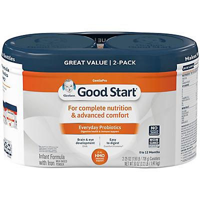 Gerber Good Start Gentle HMO Infant Formula with Iron, 2 pk./25 oz.