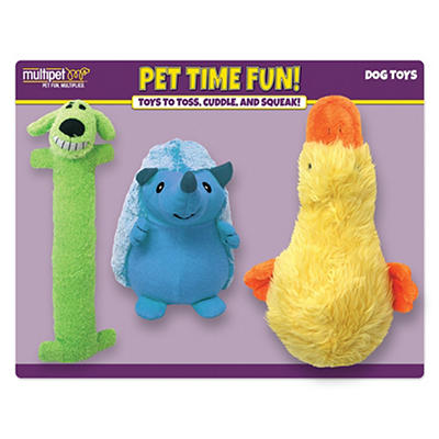 Multipet Plush Dog Toys, 3 ct.