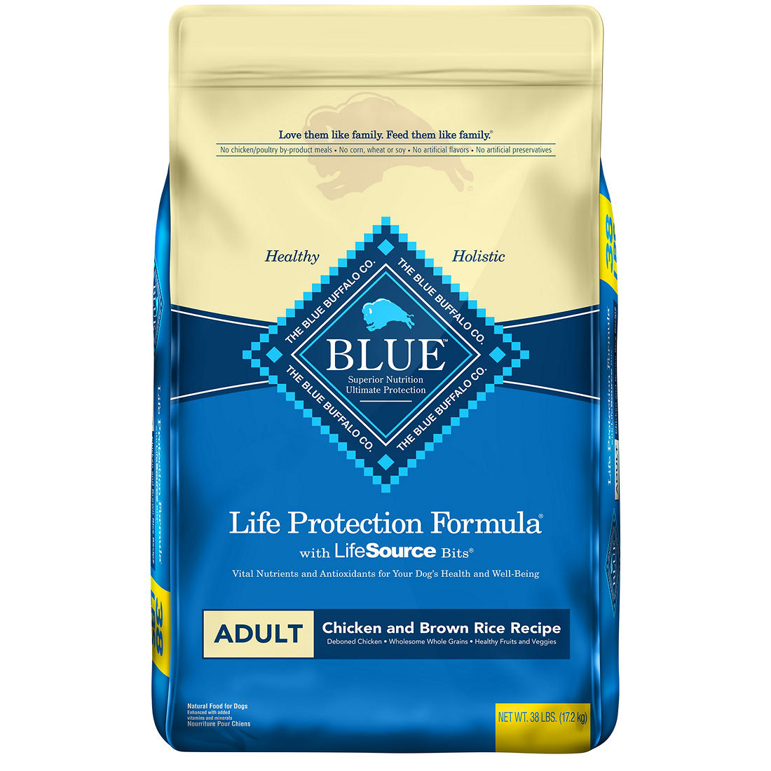 picture about Blue Buffalo Printable Coupons named Blue Buffalo Daily life Security System Organic and natural Grownup Dry Canine Foodstuff Chook and Brown Rice, 38 pounds.
