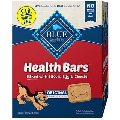 Blue Buffalo Health Bars Natural Crunchy Dog Treats Biscuits, Bacon, E