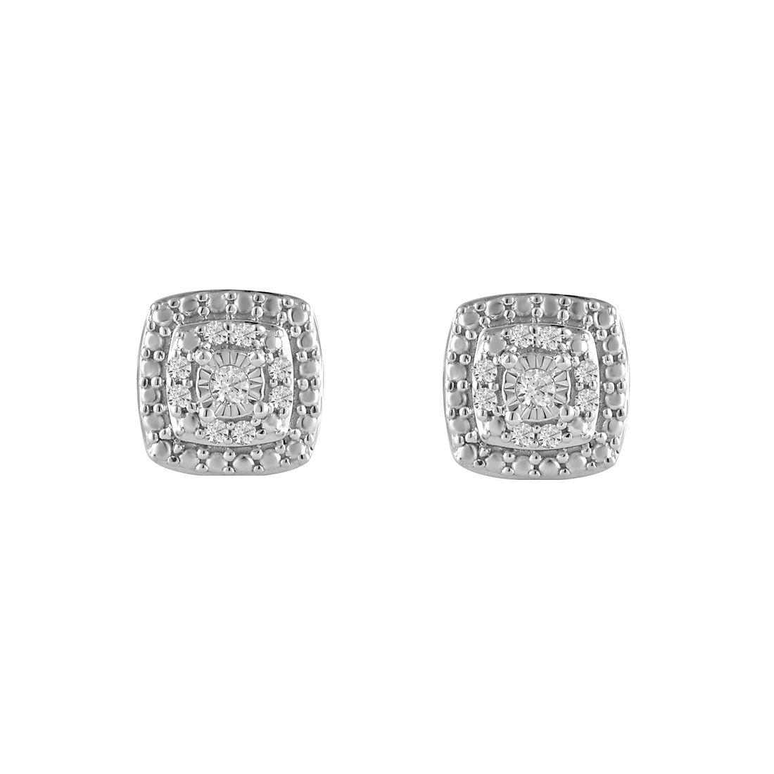 10 Ct T W Diamond Stud Earrings In Sterling Silver