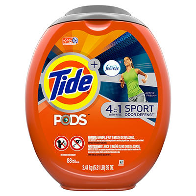 Tide Pods Sport Odor Defense Liquid Laundry Detergent Pacs, 88 ct.