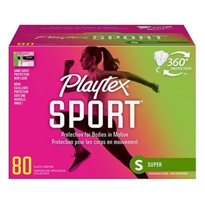 Playtex Sport Plastic Tampons, Unscented, Super Absorbency, 80 ct.