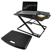 Royal SD22 Sit and Stand Adjustable Tabletop Desk with Fatigue Mat - Black