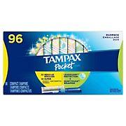 Tampax Pocket Pearl Tampons Regular/Super Duo Pack, 96 ct.