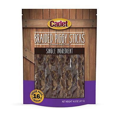 Cadet Braided Piggy Sticks Premium Dog Treats, 16 ct.