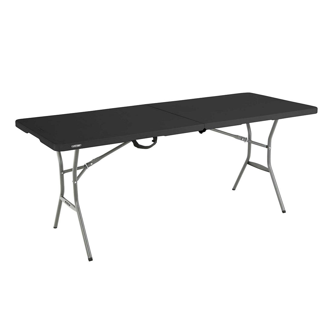 Lifetime 6 Light Commercial Fold In Half Table Black