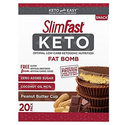 SlimFast Keto Fat Bomb Peanut Butter Cup, 20 ct.