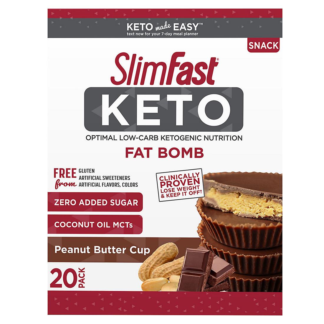 SlimFast Keto Fat Bomb Peanut Butter Cup, 20 ct