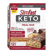 SlimFast Keto Meal Replacement Peanut Butter Bar, 12 ct.
