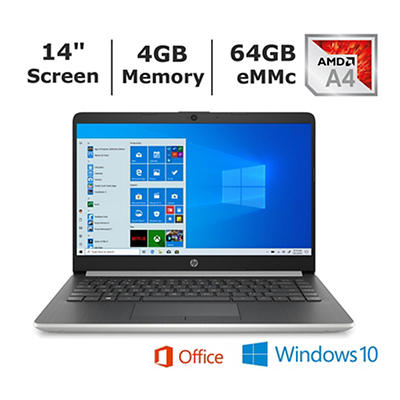 HP 14-DK0076NR Laptop, AMD A4-9125 Dual-Core, 4GB Memory, 64GB Hard Dr